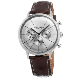 Akribos XXIV Men's Swiss Quartz Multifunction Genuine Leather Strap Watch