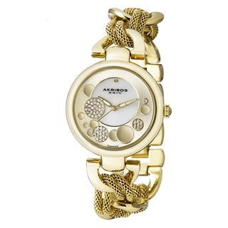 Akribos XXIV Women's Crystal Mesh Twist Chain Link Bracelet Watch