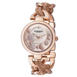 Akribos XXIV Women's Crystal Mesh Twist Chain Link Bracelet Watch