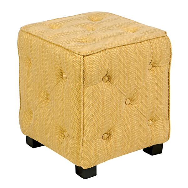 angelo:HOME Duncan Golden Yellow Groove Small Tufted Cube Ottoman