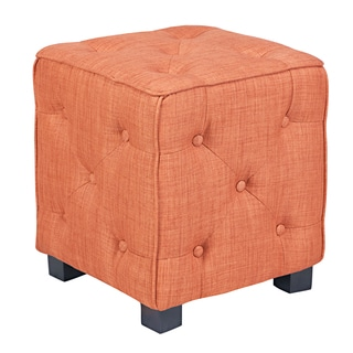 angelo:HOME Duncan California Vintage Orange Small Tufted Cube Ottoman