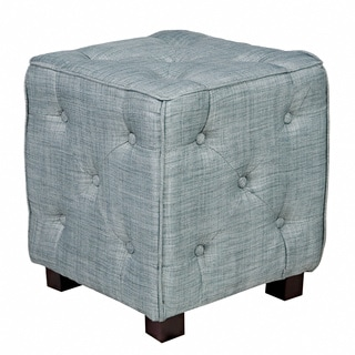 Portfolio Delphia Misty Blue Small Tufted Cube Ottoman