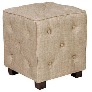 angelo:HOME Duncan Sandstone Khaki Brown Small Tufted Cube Ottoman