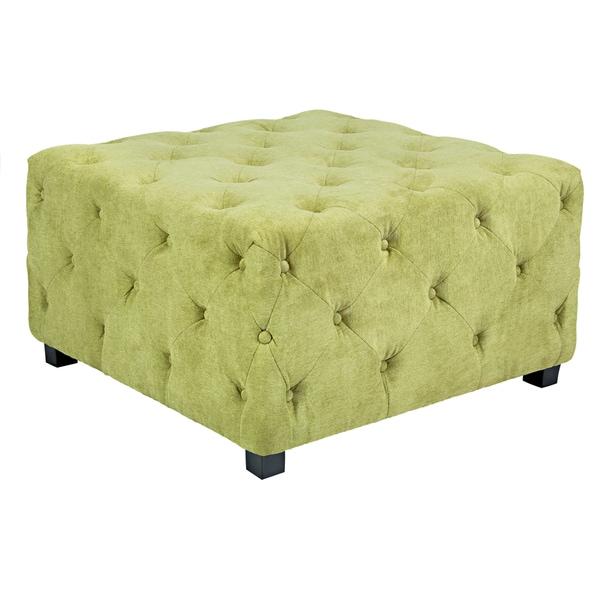 Better Living Delphia Green Velvet Large Tufted Cube Ottoman