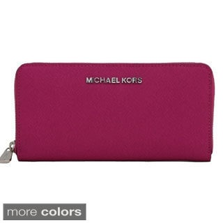Michael Kors Jet Set Saffiano Fushia Zip Around Continental Wallet