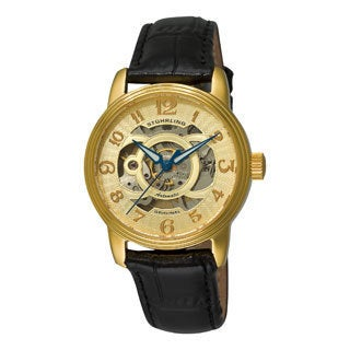 Stuhrling Original Woman's Delphi Alpha Automatic Skeleton Leather Strap Watch