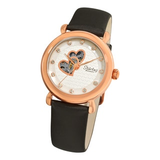 Stuhrling Original Woman's Cupid Valentine Automatic Leather Strap Set