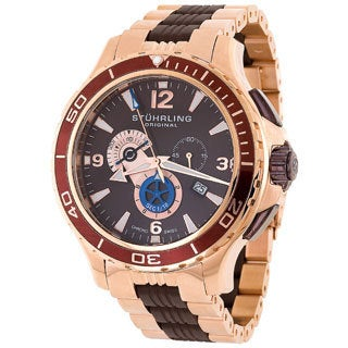 Stuhrling Original Men's Marine World Tmer Swiss Quartz Rubber Strap Watch