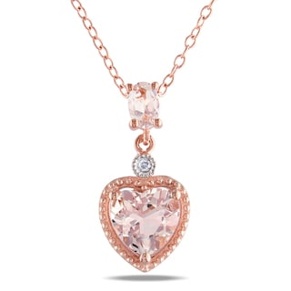 Miadora Roseplated Silver Morganite/ Diamond Accent Heart Necklace with Bonus Clutch
