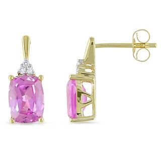 Miadora 14k Yellow Gold Created Pink Sapphire/ Diamond Accent Earrings with Bonus Handbag