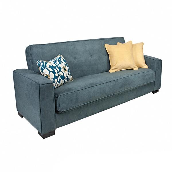 angelo:HOME Alden Parisian Blue Evening Velvet Convert-a-Couch Futon Sofa Sleeper