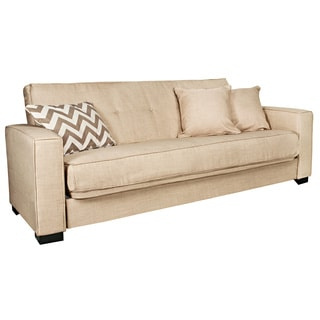 angelo:HOME Alden Summer Sand Tan Convert-a-Couch Futon Sofa Sleeper
