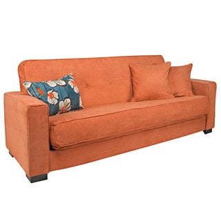 angelo:HOME Alden Parisian Rust Autumn Velvet Convert-a-Couch Futon Sofa Sleeper