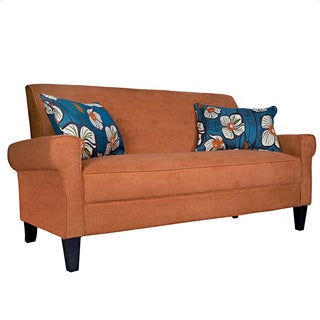 Portfolio Xandra Orange Rust Velvet Sofa