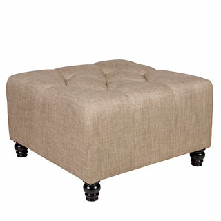 angelo:HOME Duncan Sandstone Khaki Brown Large Diamond Tufted Cube Ottoman