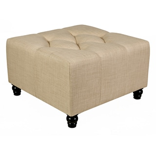 angelo:HOME Duncan Summer Sand Tan Large Diamond Tufted Cube Ottoman