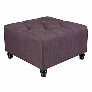 angelo:HOME Duncan Purple Grape Twill Large Diamond Tufted Cube Ottoman
