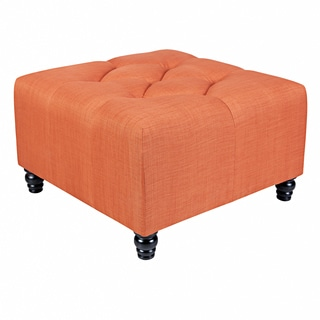 Portfolio Delphia Orange Large Diamond Tufted Cube Ottoman