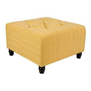 angelo:HOME Duncan Golden Yellow Groove Large Diamond Tufted Cube Ottoman