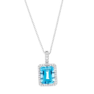 Kabella Sterling Silver Blue Topaz Emerald-cut Solitaire Necklace