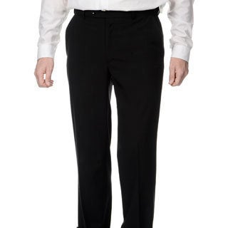 Henry Grethel Men's Black Self-adjusting Expander Waist Flat Front Pant