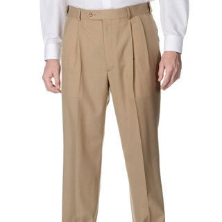 Henry Grethel Men's Camel Self-adjusting Expander Waist Pleated Pant