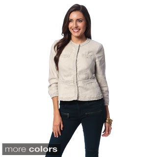 Chelsea & Theodore Women's Linen Snap Button Jacket