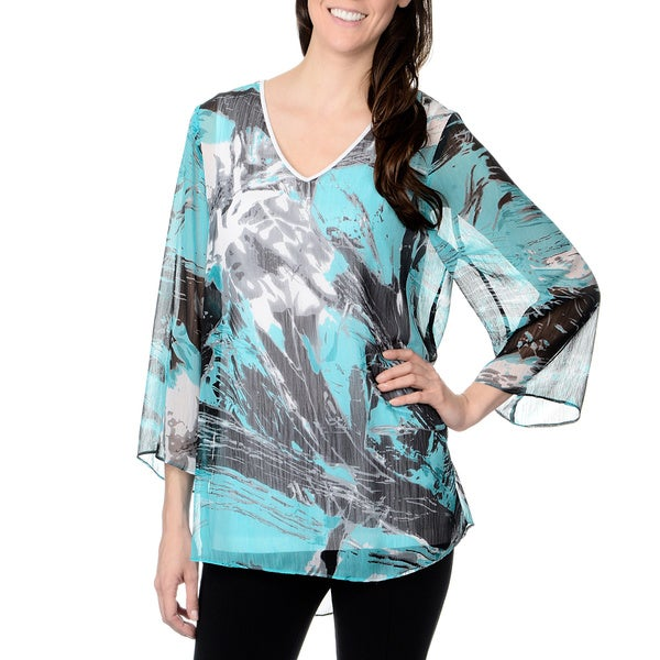 Chelsea & Theodore Women's Splash Wave Print Sheer Top