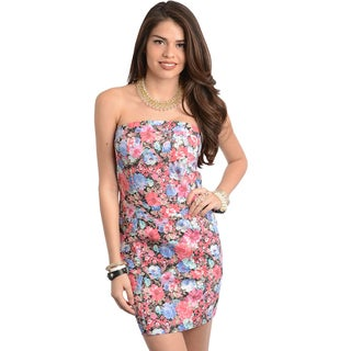 Shop The Trends Women's Pink/ Blue Floral Print Strapless Dress