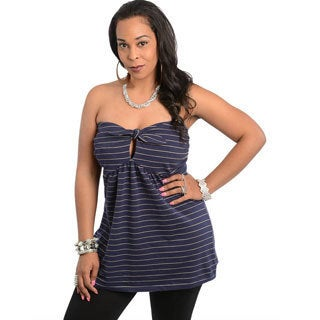 Feellib Women's Plus Size Navy Stripes Strapless Babydoll Top