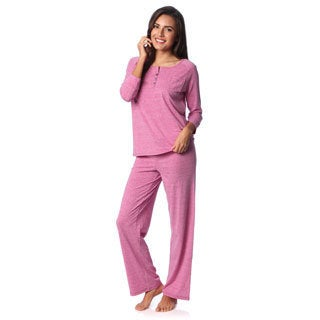 Aegean Apparel Women's Rose Marl Henley and Lounge Pant Set