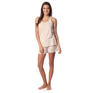 Aegean Appael Women's Oatmeal Marl Loungewear Tank and Shorts Set