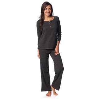 Aegean Apparel Women's Charcoal Marl Henley and Lounge Pant Set