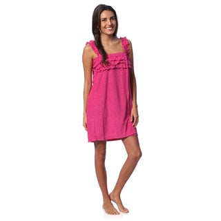 Aegean Apparel Women's Fuchsia Knit Terry Ruffled Shower Wrap