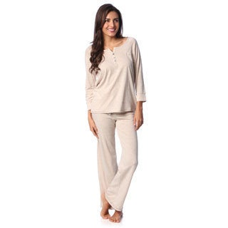 Aegean Apparel Women's Oatmeal Marl Henley and Lounge Pant Set
