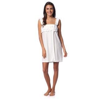 Aegean Apparel Women's White French Knit Ruffled Shower Wrap