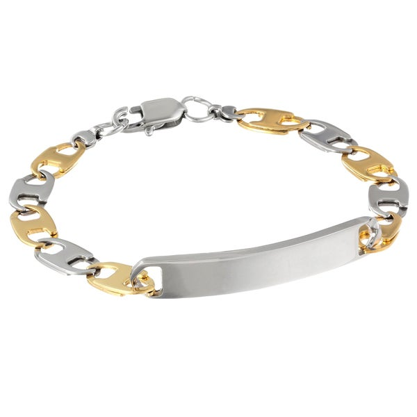 Two-tone Stainless Steel ID Bracelet