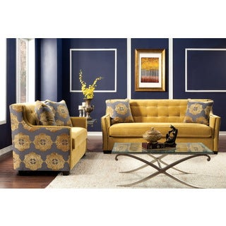 Furniture of America Fedrix 2-piece Damask Fabric Tufted Sofa and Loveseat Set