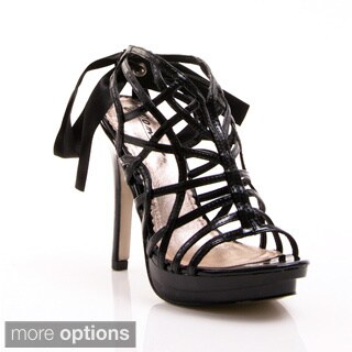 Gomax Women's 'Lorena 08' Ribbon Laced Caged Sandals