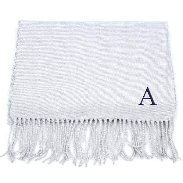 Grey Personalized Fringe Scarf