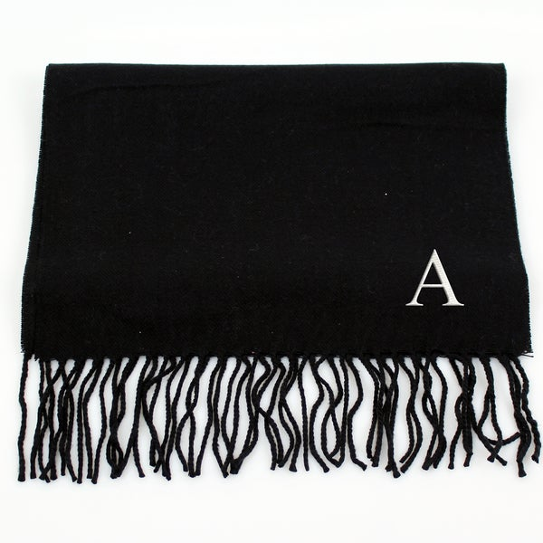 Black Personalized Fringe Scarf