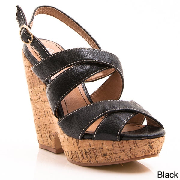 Gomax Women's 'Hey There 08' Slingback Platform Cork Wedge Sandals