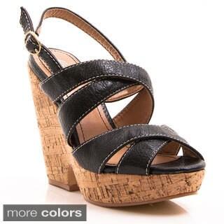 Gomax Women's 'Hey There 08' Slingback Platform Cork Wedge Sandals
