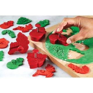 Cake Boss Decorating Tools Red 4-piece Christmas Fondant Press Set