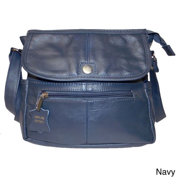 Hollywood Tag Cowhide Leather Flap-over Messenger Bag