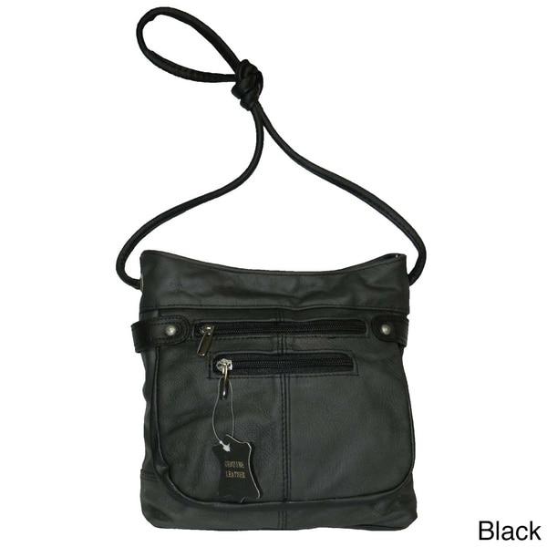 Hollywood Tag Black Leather Messenger Bag