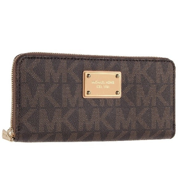MICHAEL Michael Kors Logo Zip Continental PVC Wallet, Brown