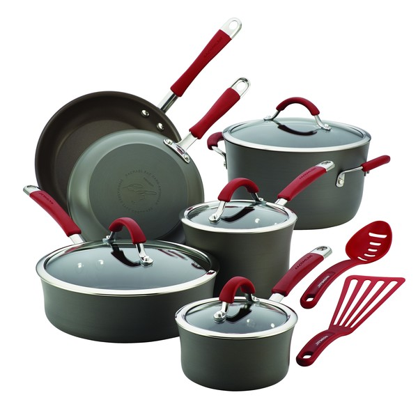 Rachael Ray Cucina Red/ Grey Hard-anodized Nonstick 12-piece Cookware Set (As Is Item) 22564793