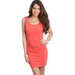 Feellib Women's Coral Sleeveless Jewel-shoulder Dress
