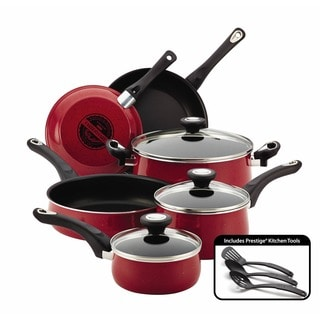 Farberware New Traditions Red Speckled Aluminum Nonstick 12-piece Cookware Set